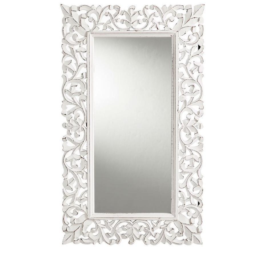 Specchio shabby chic legno bianco intarsiato complementi online - Specchio shabby chic ...