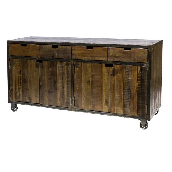Credenza vintage legno e ferro mobili stile industriale for Credenza industriale