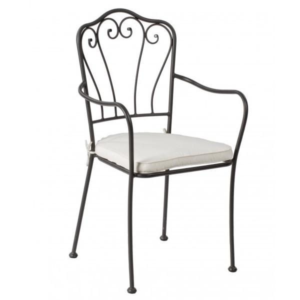 Sedia ferro battuto braccioli sedie giardino online for Sedie da giardino in ferro battuto