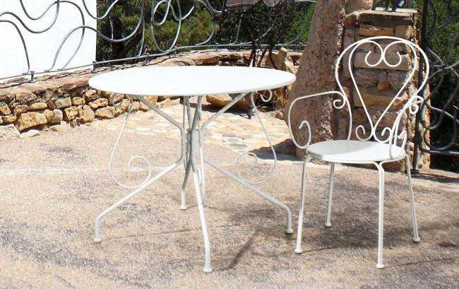 Sedie In Ferro Battuto Usate : Sedia ferro battuto bianca sedie provenzali giardino