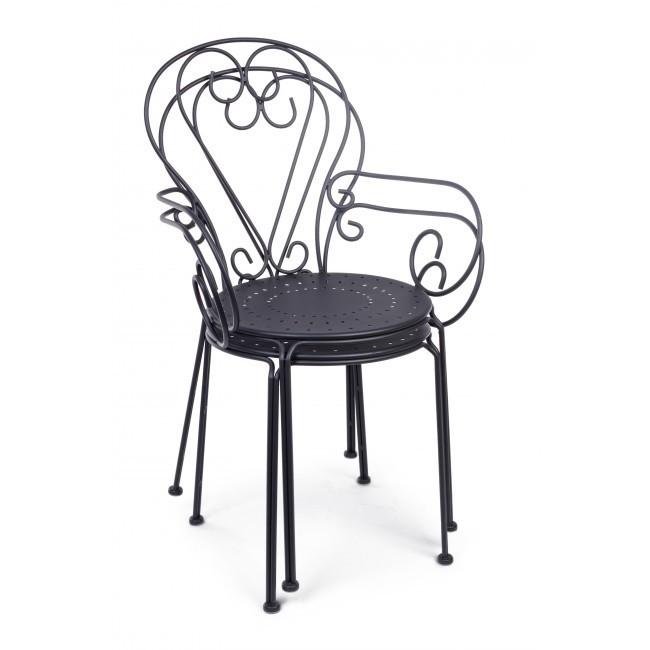 Set 2 sedie ferro battuto nere giardino provenzale vintage for Sedie da esterno in ferro battuto