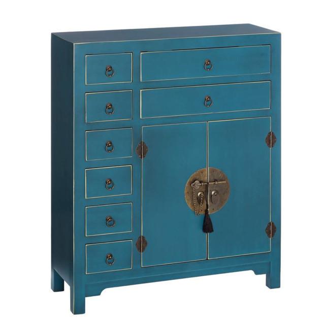 cassettiera cinese azzurra etnico outlet mobili cinesi oriente. Black Bedroom Furniture Sets. Home Design Ideas