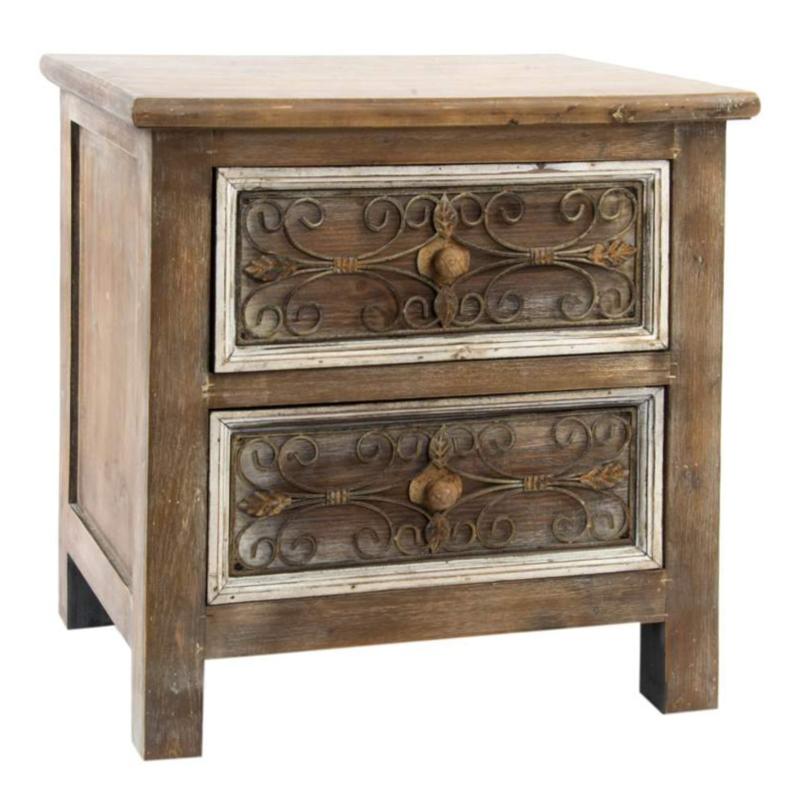 Comodino legno naturale comodini mobili etnici - Mobili legno naturale ...