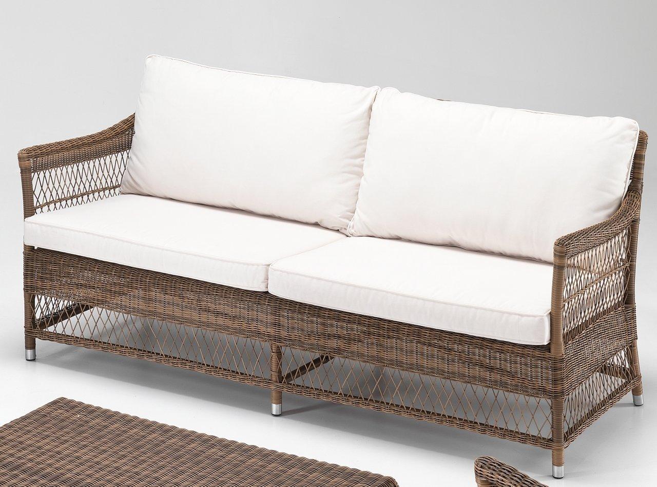 Salotto da giardino polyrattan marrone etnicooutlet mobili for Divano rattan