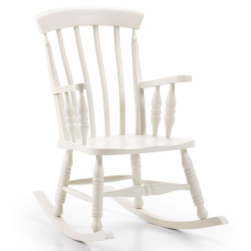 Sedia dondolo legno bianco coloniale - Mobili coloniali bianchi