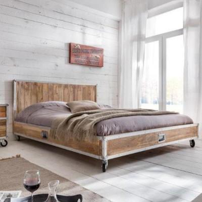 Letto industrial legno mango mobili stile industriale online - Camera da letto industrial ...