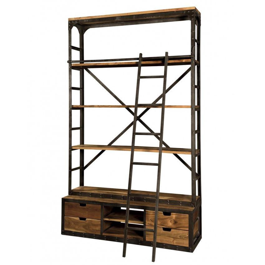 Libreria industrial con scala Librerie legno e ferro online