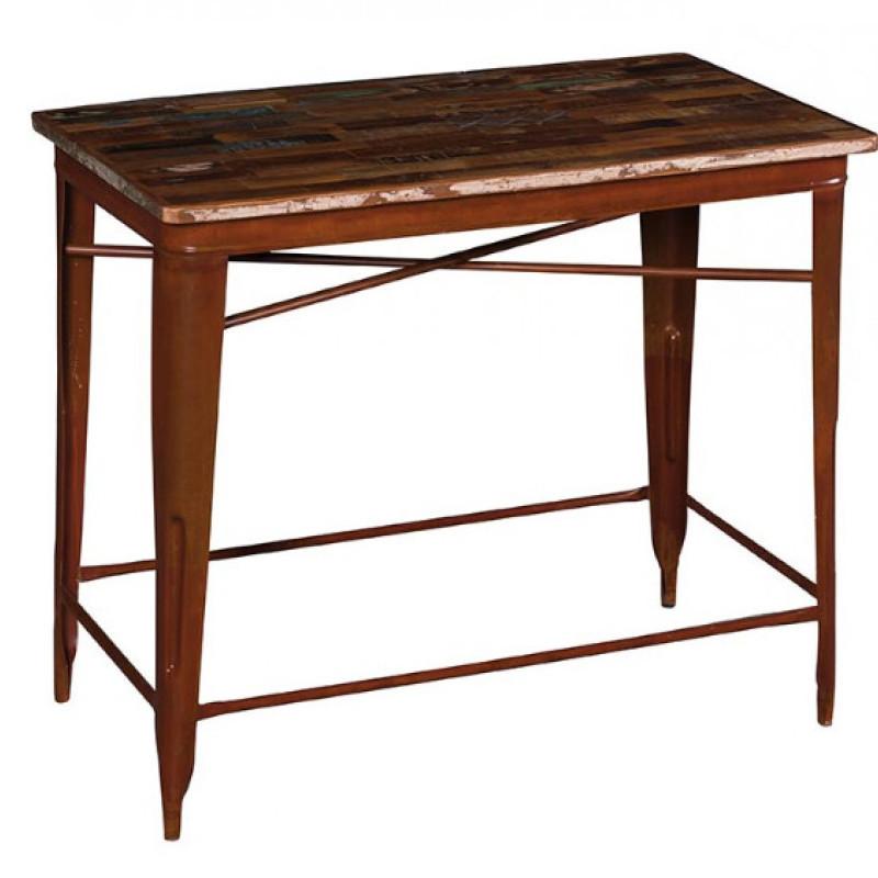 Tavolo pub industrial ferro e legno Etnico Outlet mobili etnici