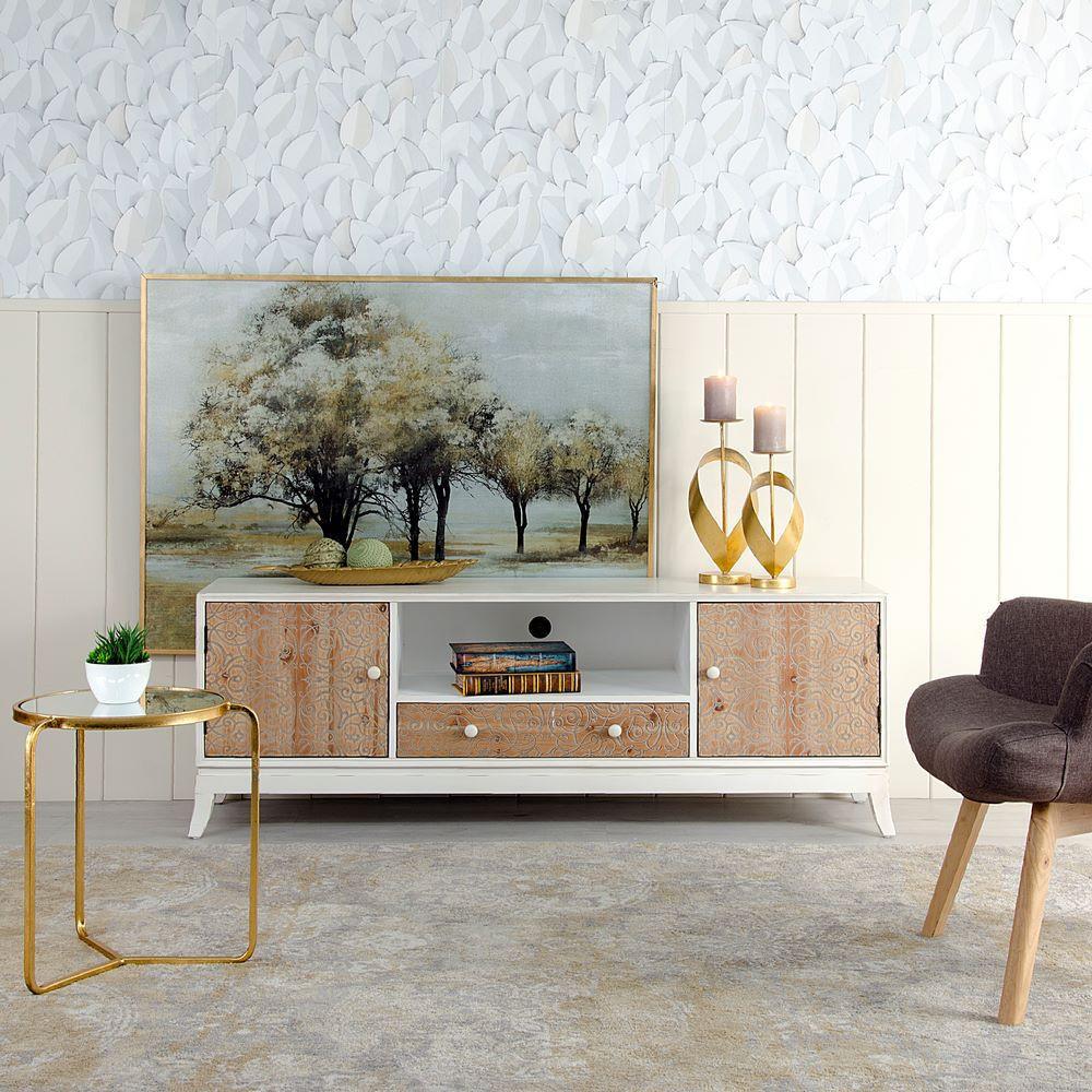 Porta tv francese legno naturale mobili provenzali e shabby chic - Mobili legno naturale ...