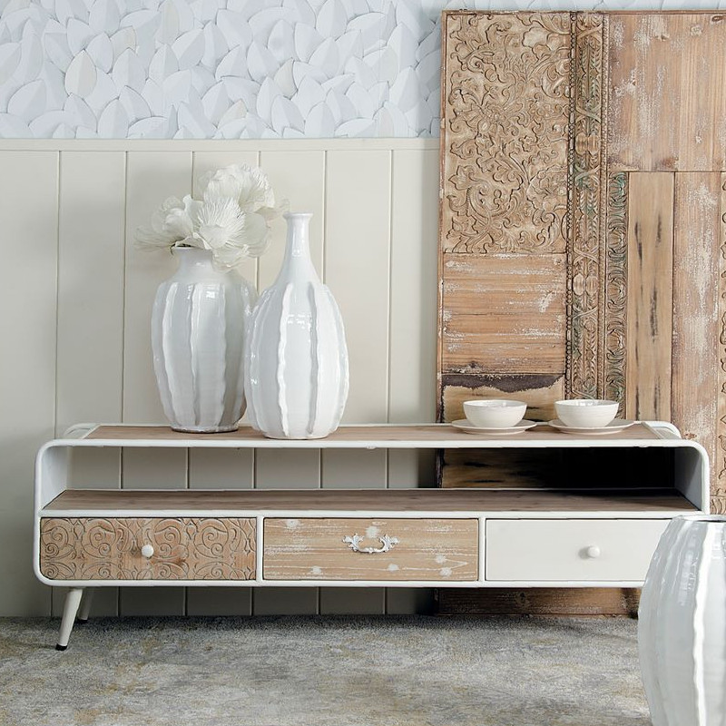Porta tv stile nordico legno e ferro bianco mobili online - Mobili stile nordico ...