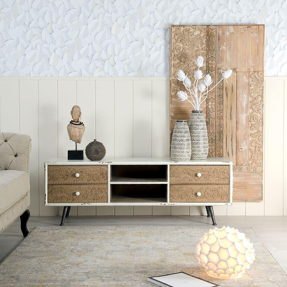 Porta tv bianco stile nordico legno mobili online - Porta tv bianco ...