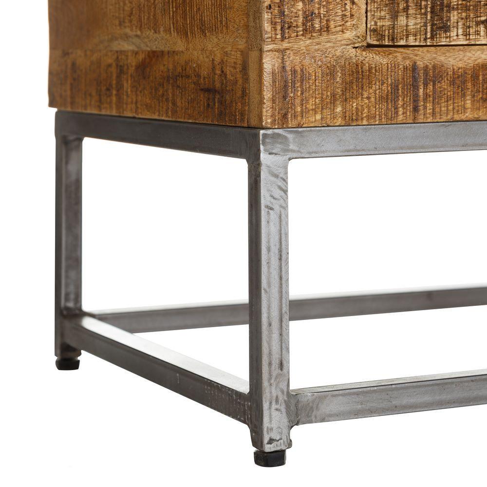 Cassettiera etnica legno e ferro mobili industrial online for Prezzo ferro al kg oggi