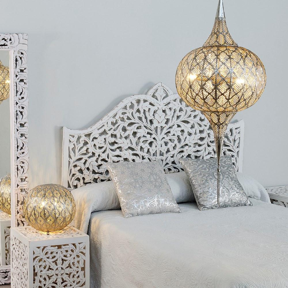 Testata letto orientale bianca shabby camere letto orientali - Cabecero madera tallada ...