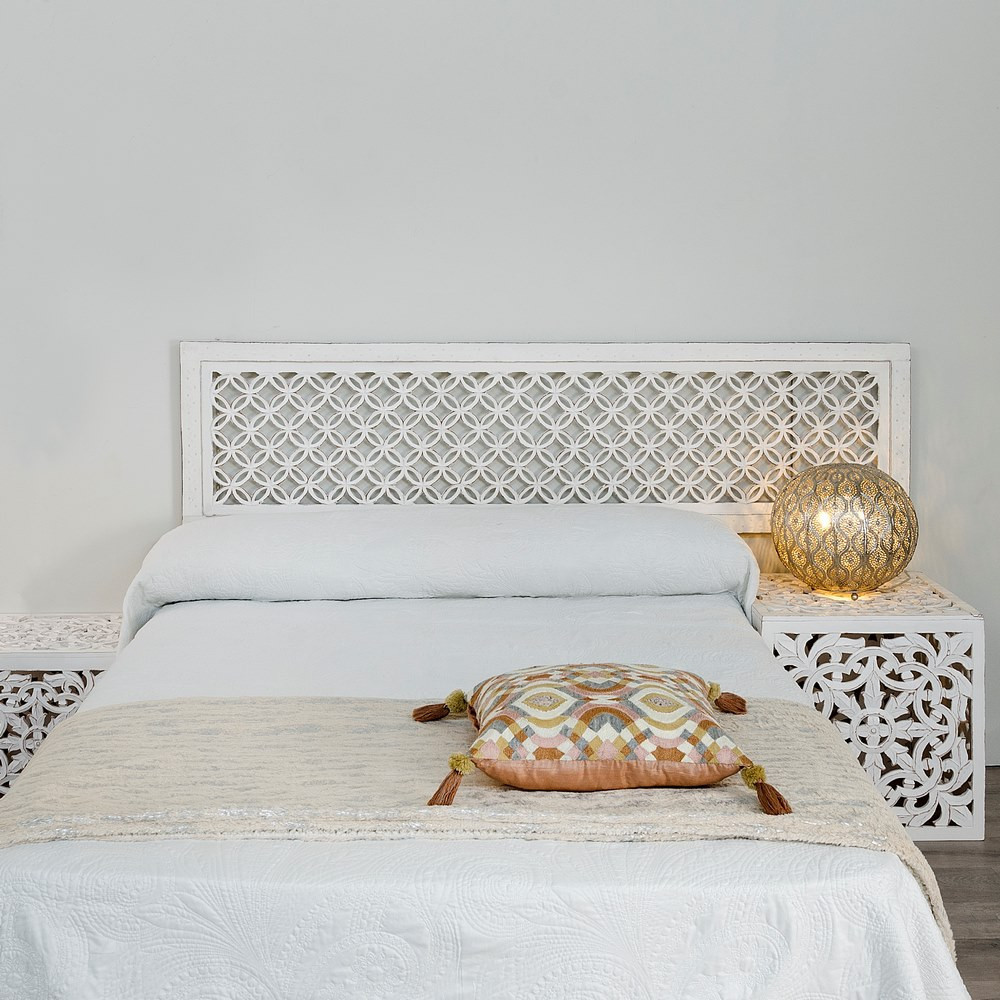 Testata letto orientale legno bianco shabby offerte online - Testata letto shabby ...