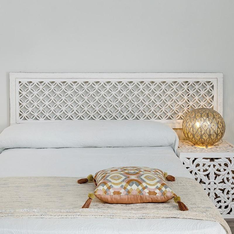 Testata letto orientale legno bianco shabby offerte online - Testate letto shabby chic ...