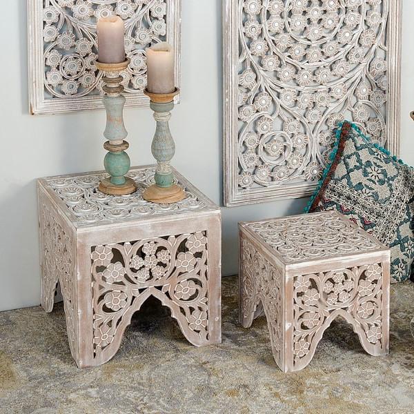 Tavolini orientali decapati bianchi legno mobili orientali online - Mobili bianchi decapati ...