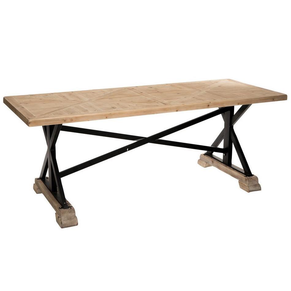 Tavolo industrial legno naturale e ferro arredamento for Tavolo legno naturale