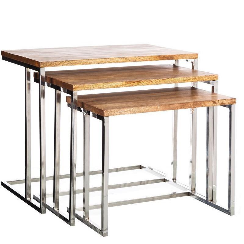 tavolini industrial set 3 pz legno acciaio stile industriale