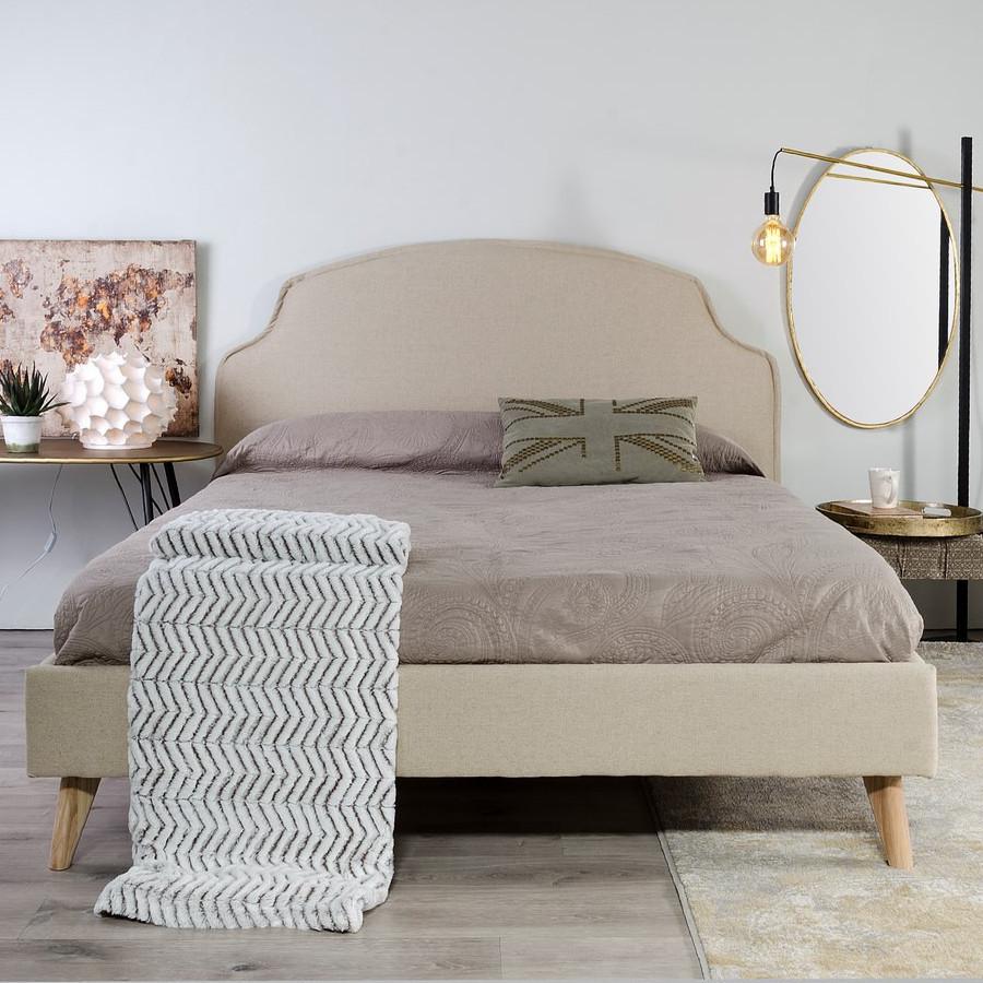 Letto francese imbottito lino crema camere letto provenzali - Testate letto shabby ...