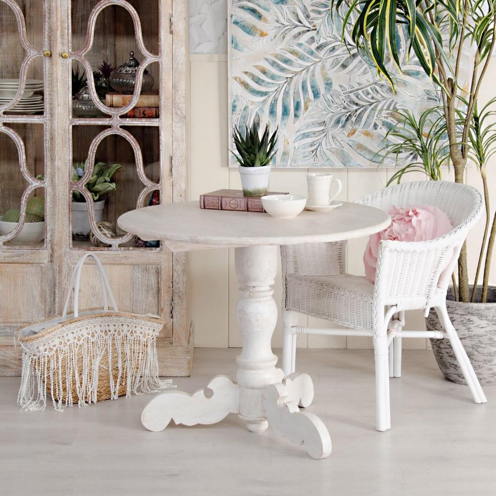 Tavolo tondo bianco shabby chic legno arredamento provenzale for Tavolo tondo bianco