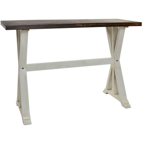 Consolle legno bianco shabby base bianca