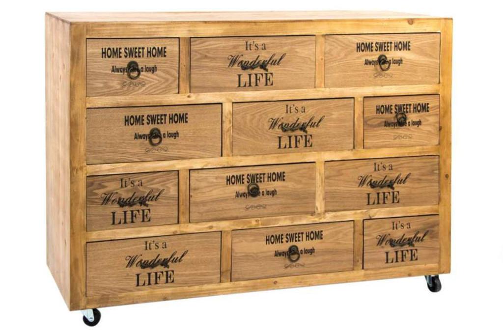 Cassettiera stile nordico legno naturale arredamento online for Arredamento nordico on line