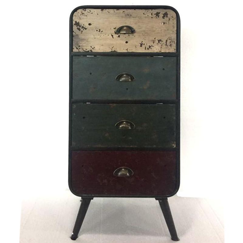 Cassettiera vintage legno anticato stile industriale for Cassettiera industriale vintage