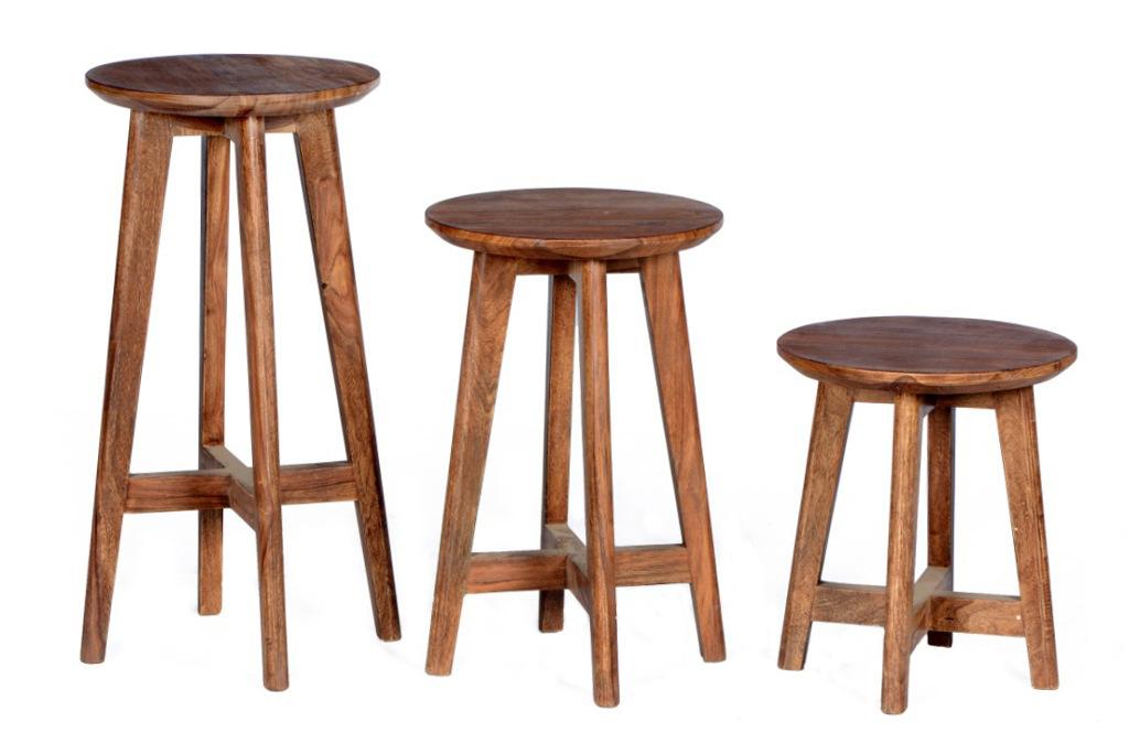 Sgabelli set pz vintage legno sheesham sedie massello