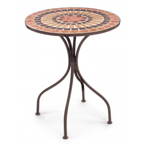 Tavolo tondo ferro con mosaico mobili esterno online for Tavolo rotondo mosaico
