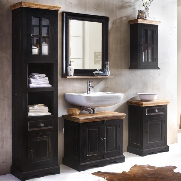 Composizione bagno shabby noir legno mango mobili shabby for Mobiletti bassi bagno