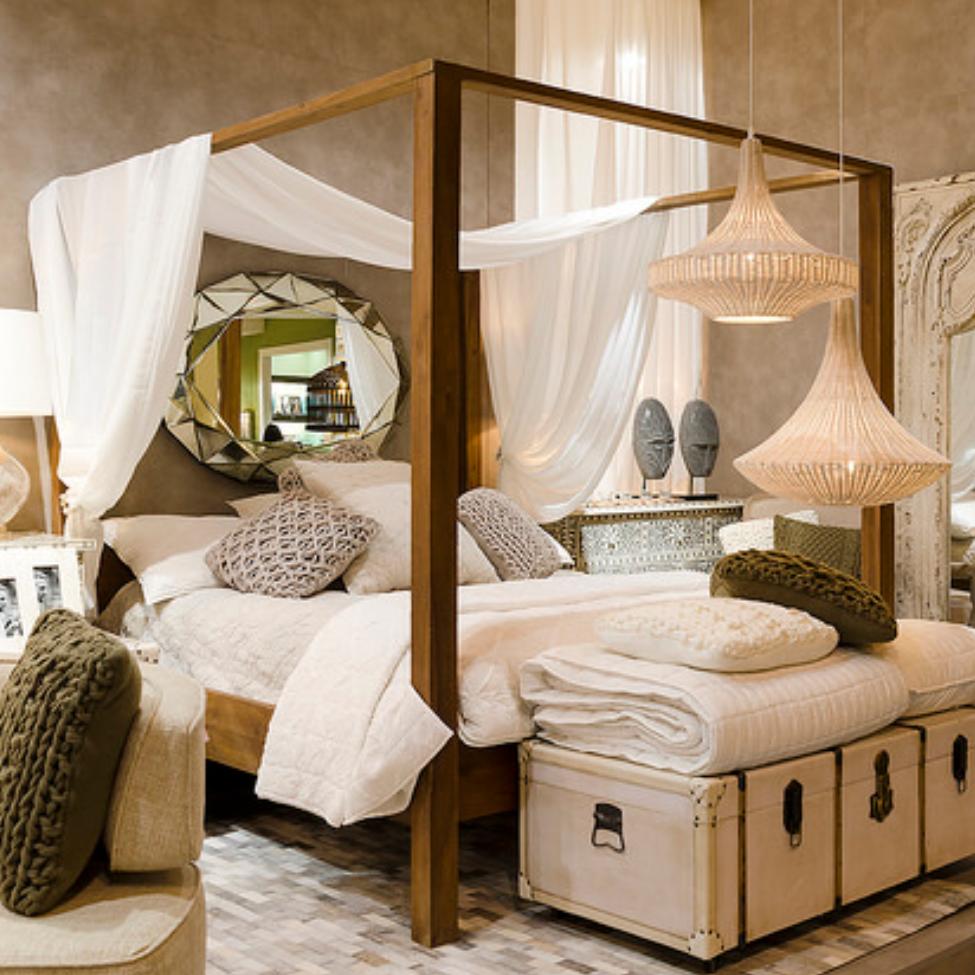Letto baldacchino legno massello mobili industrial e vintage - Baldacchino letto ...