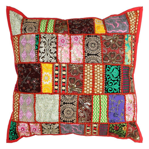 Cuscino patchwork rosso stile boho chic