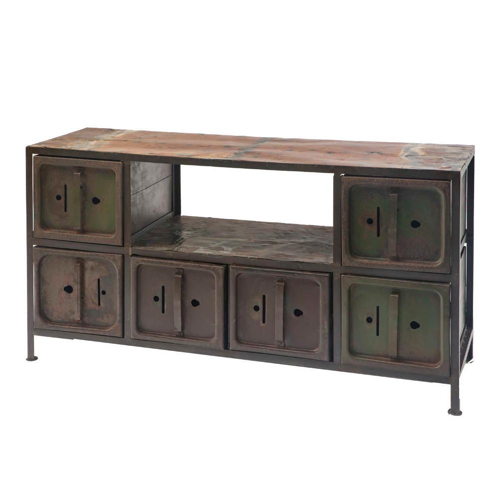 Porta tv industrial anticato metallo di recupero mobili for Mobili industrial