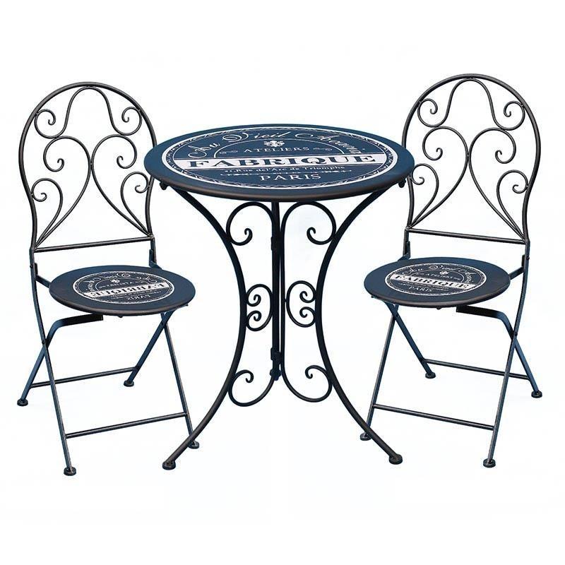 Tavoli E Sedie In Ferro Per Giardino.Set Tavolo E Due Sedie Giardino Blu Offerte Ferro Battuto