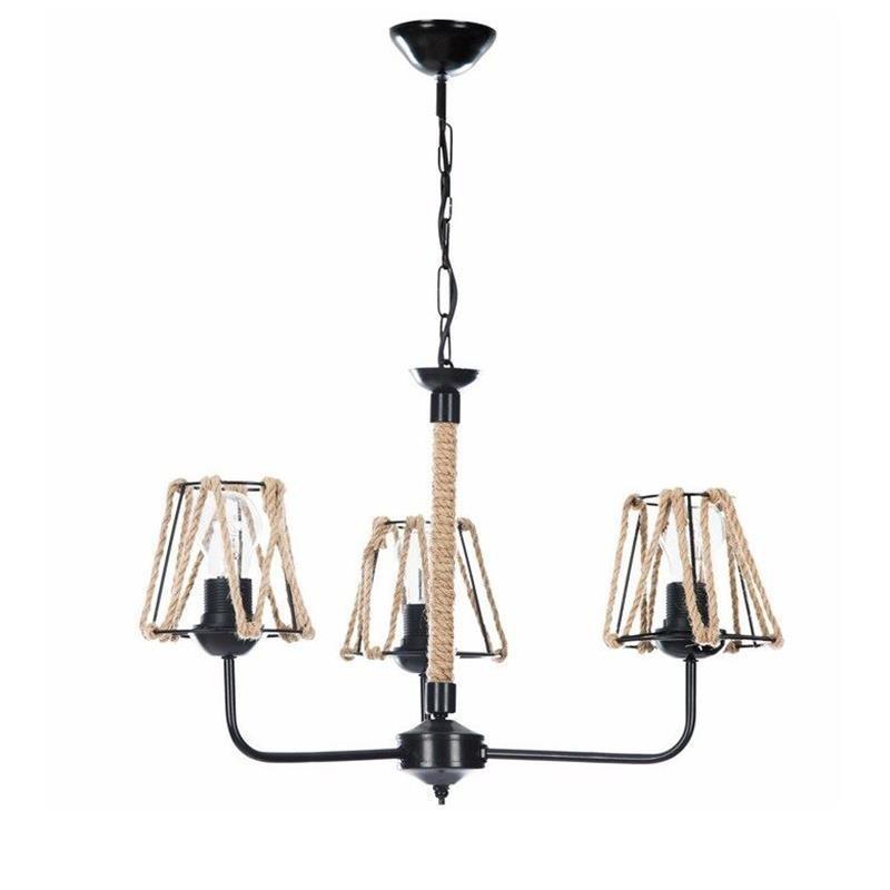 Lampadario tre luci in corda e metallo