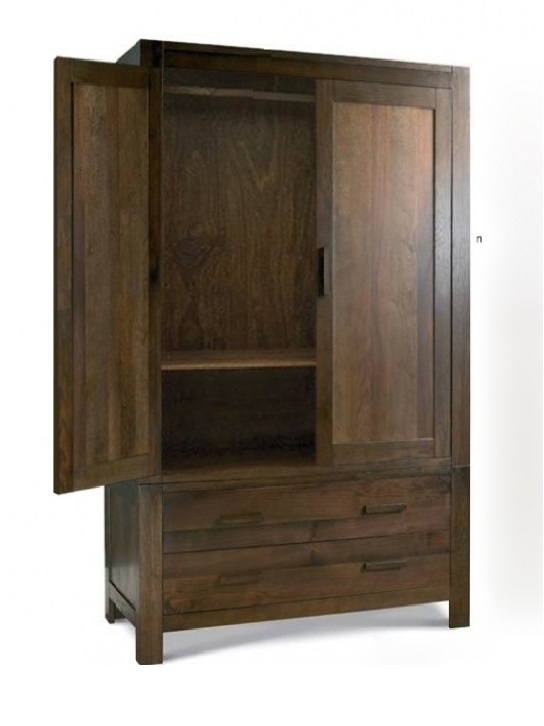 Armadio etnico in legno massello col noce 110 x 56 h 190 for Armadi in saldo