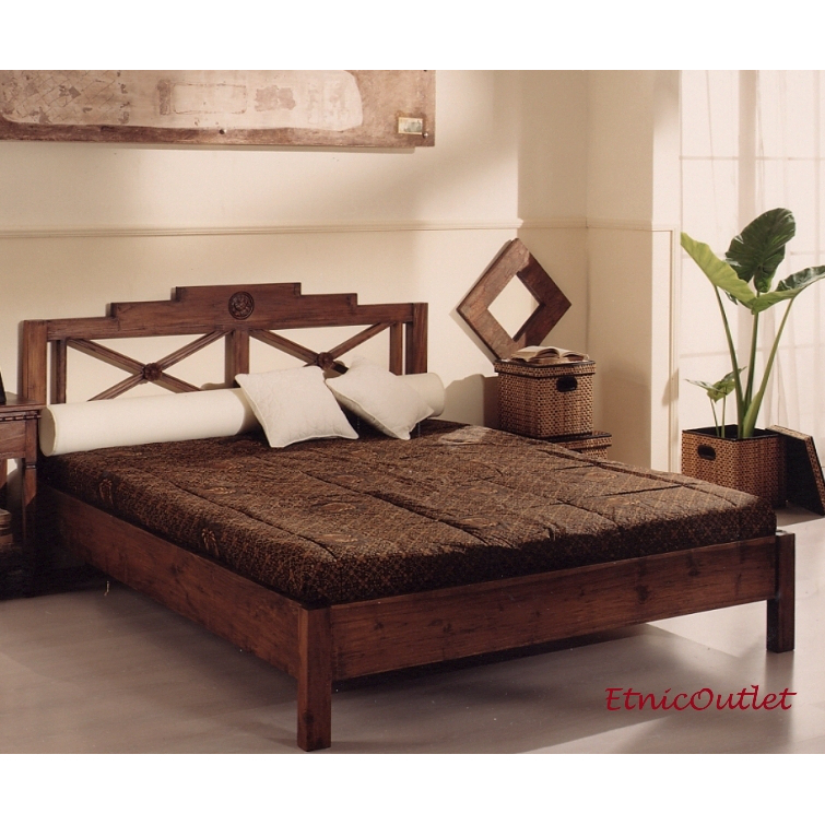 Letto etnico matrimoniale teak etnico outlet mobili etnici for Etnico outlet