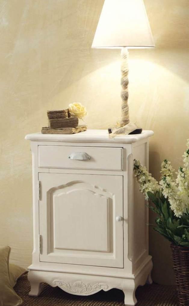 Comodino bianco provenzale mobili shabby chic provenzali for Mobili per tutti