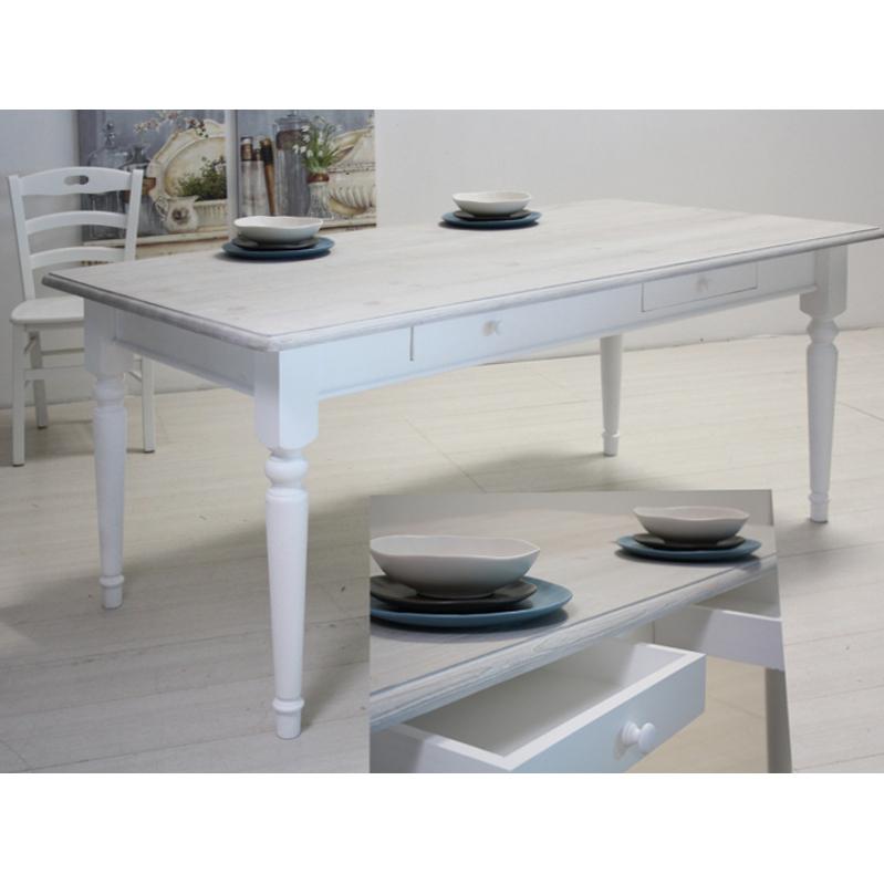 Tavolo bianco decapato shabby arredo provenzale online - Mobile bianco decapato ...
