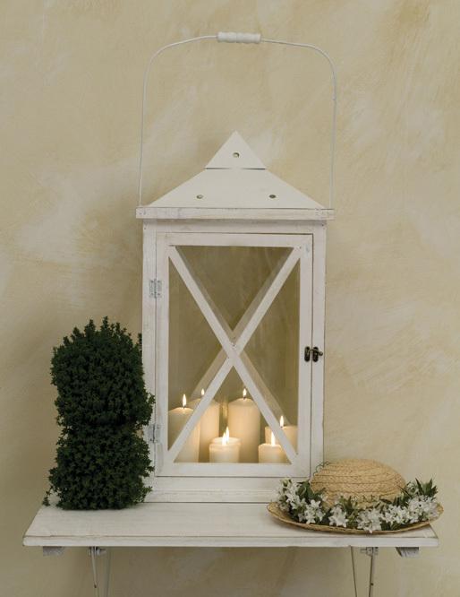 Lanterna bianca legno e metallo lanterne provenzali shabby for Lanterne bianche
