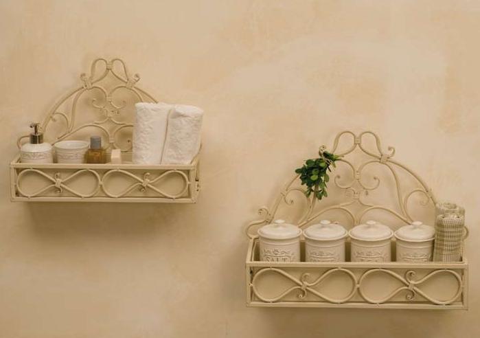 Fioriere da muro provenzali set 2pz etnico outlet mobili for Mensole in ferro battuto