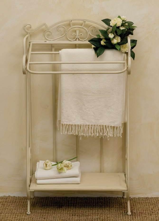 Porta asciugamano provenzale bianco etnico outlet mobili - Mobili porta asciugamani bagno ...