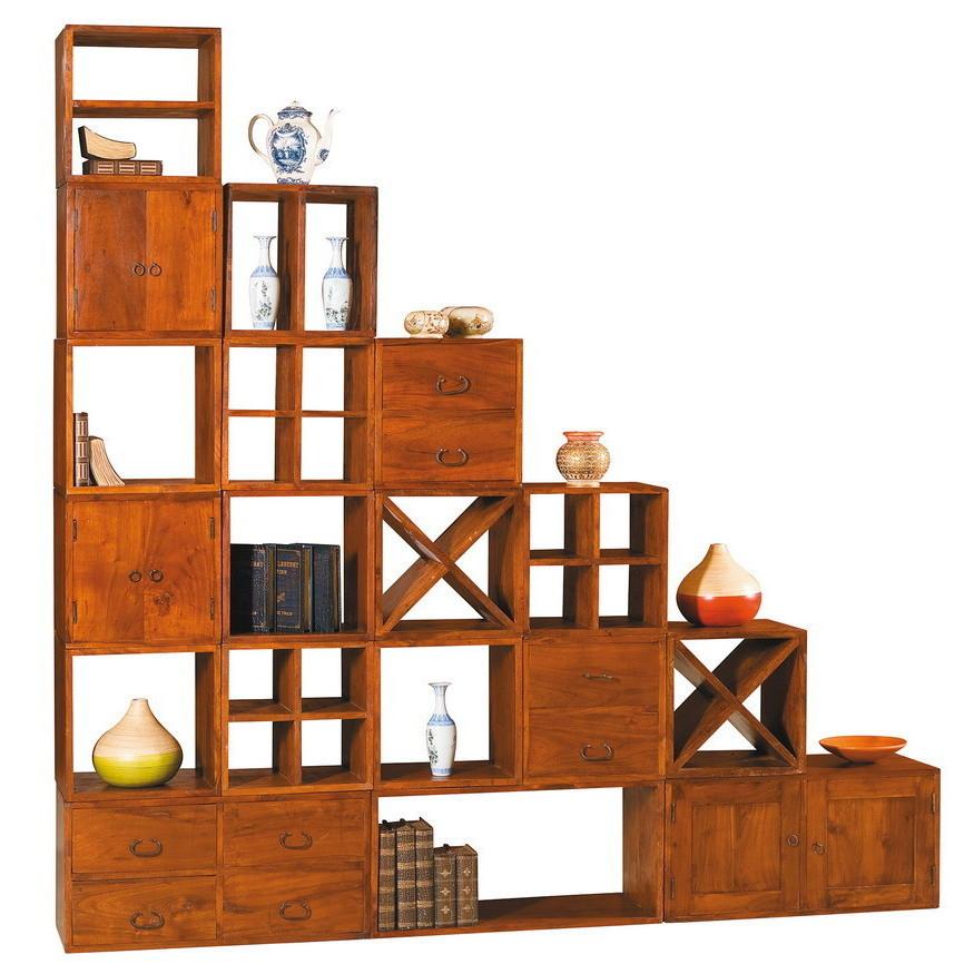Cubi Legno Componibili.Libreria Etnica Componibile Cubi