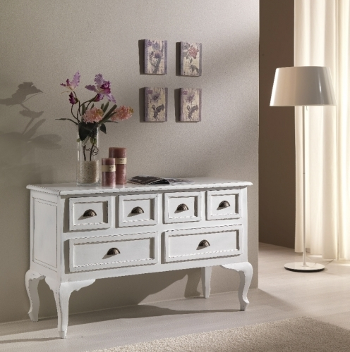 Consolle francese bianca shabby chic