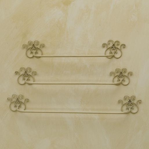 Accessori In Ferro Battuto Per Bagno.Set 3 Portasciugamano Ferro