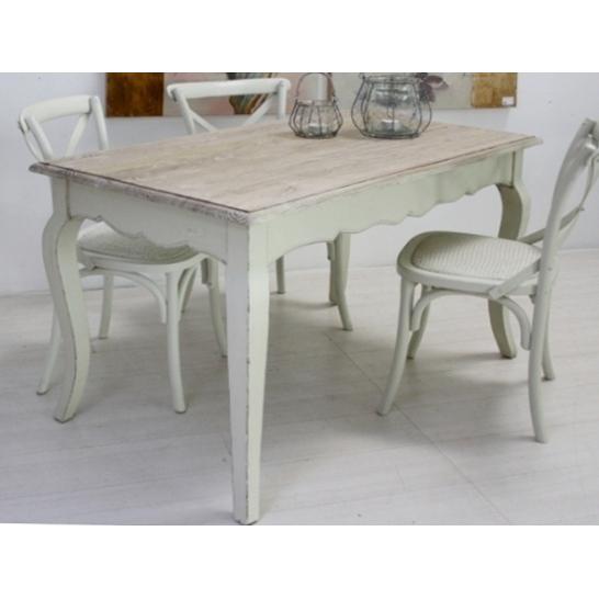 Tavolo legno bianco shabby chic arredamento provenzale online for Tavolo bianco legno