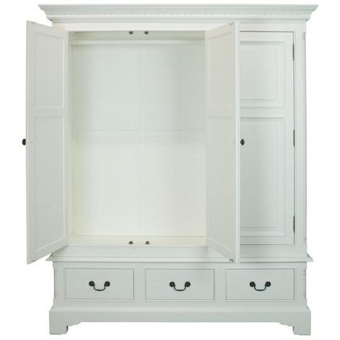 Armadio legno bianco shabby chic mobili provenzali online for Armadio stile nordico