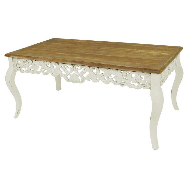 Tavolino da salotto bianco shabby etnico outlet mobili for Salotto bianco