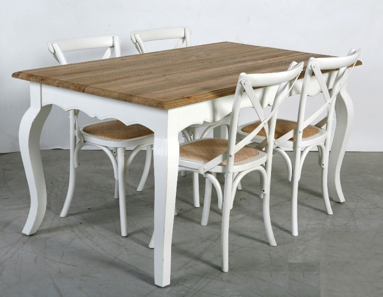 Tavolo legno bianco shabby chic tavoli legno massello for Tavolo bianco legno