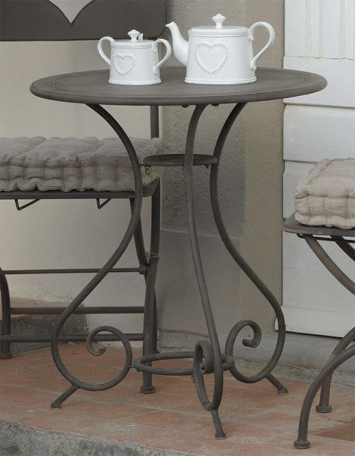 Tavolino rotondo ferro battuto brunito